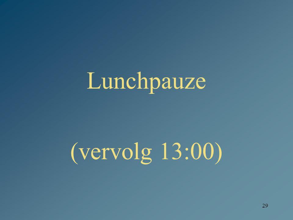 Lunchpauze (vervolg 13:00)