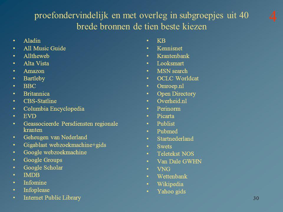 proefondervindelijk en met overleg in subgroepjes uit 40 brede bronnen de tien beste kiezen