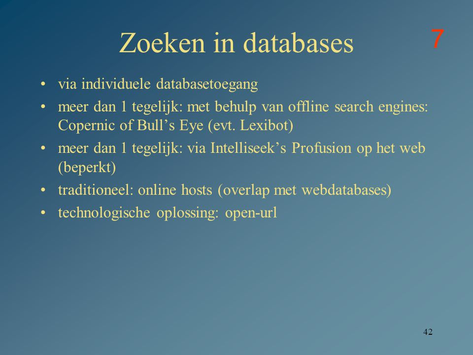 Zoeken in databases 7 via individuele databasetoegang