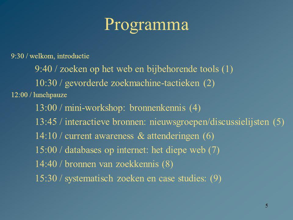 Programma 9:40 / zoeken op het web en bijbehorende tools (1)