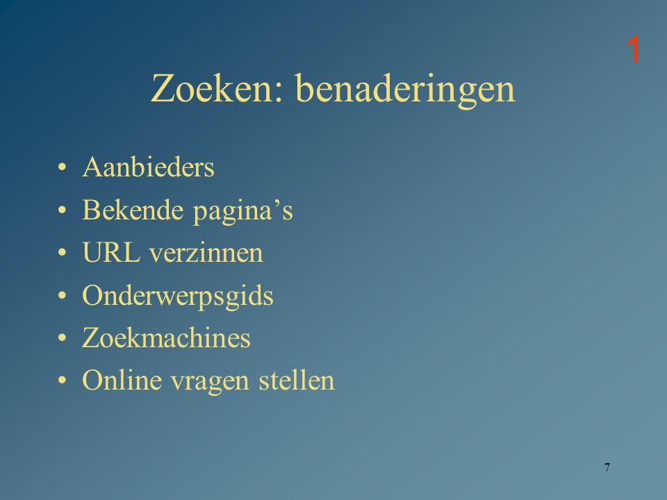 Zoeken: benaderingen 1 Aanbieders Bekende pagina's URL verzinnen