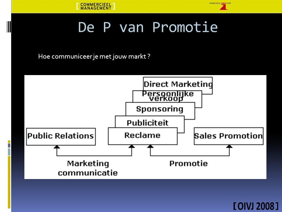 De P van Promotie Hoe communiceer je met jouw markt