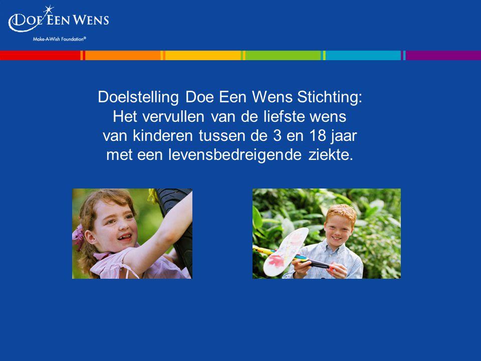 Doelstelling Doe Een Wens Stichting: Het vervullen van de liefste wens van kinderen tussen de 3 en 18 jaar met een levensbedreigende ziekte.