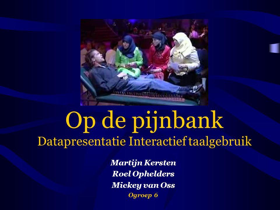 Op de pijnbank Datapresentatie Interactief taalgebruik