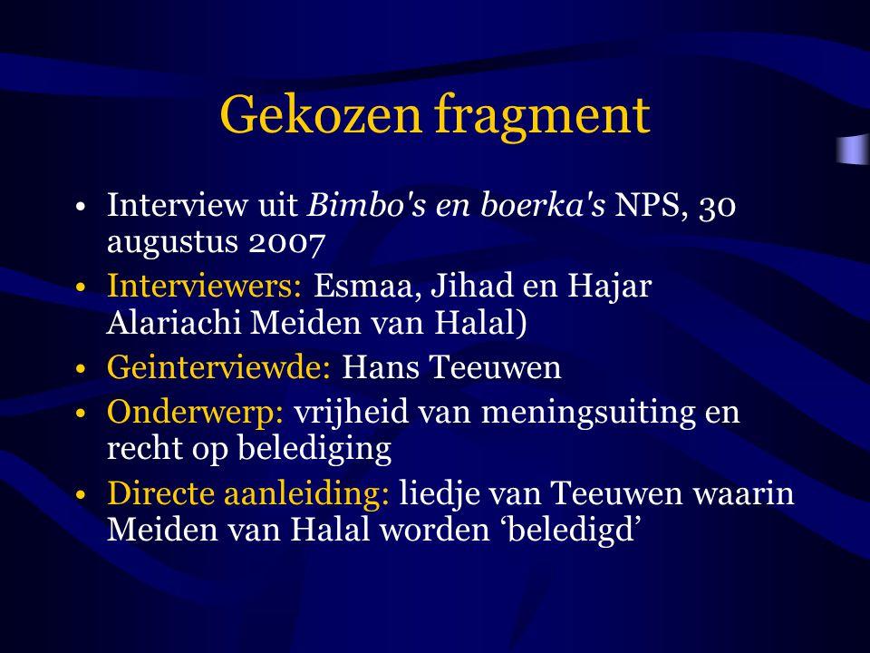 Gekozen fragment Interview uit Bimbo s en boerka s NPS, 30 augustus 2007. Interviewers: Esmaa, Jihad en Hajar Alariachi Meiden van Halal)