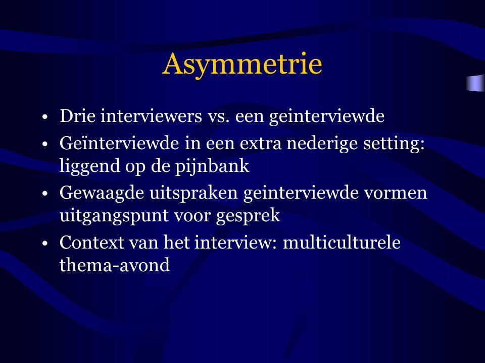 Asymmetrie Drie interviewers vs. een geinterviewde