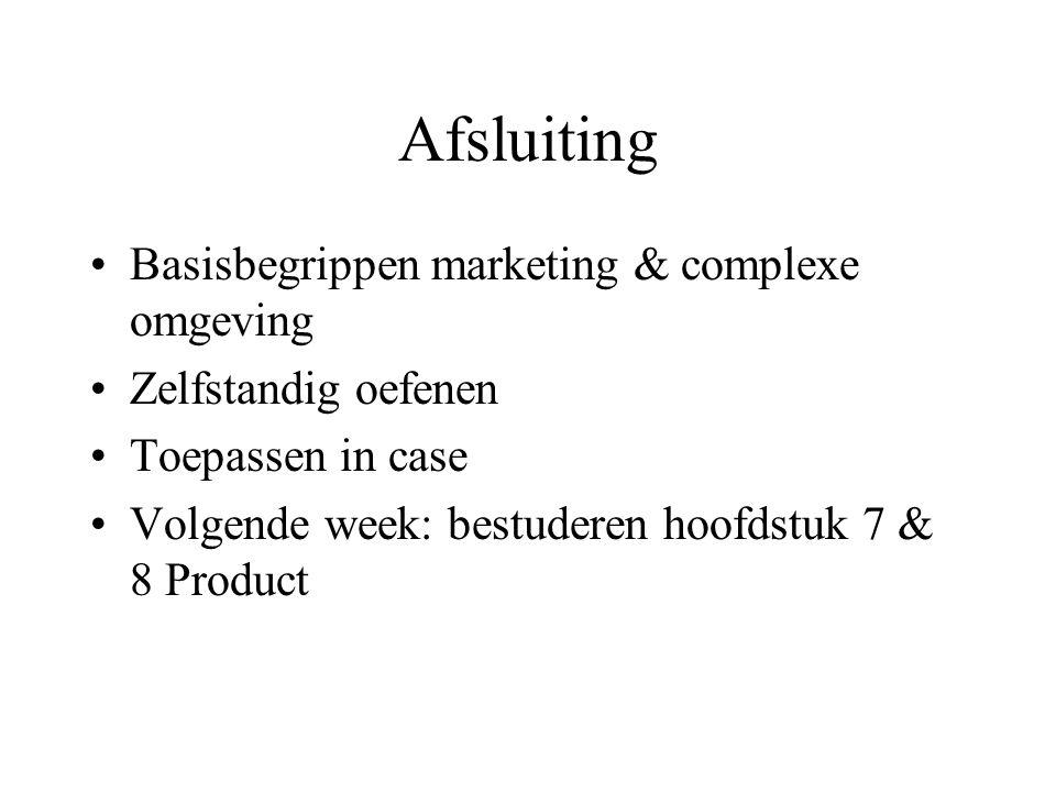 Afsluiting Basisbegrippen marketing & complexe omgeving