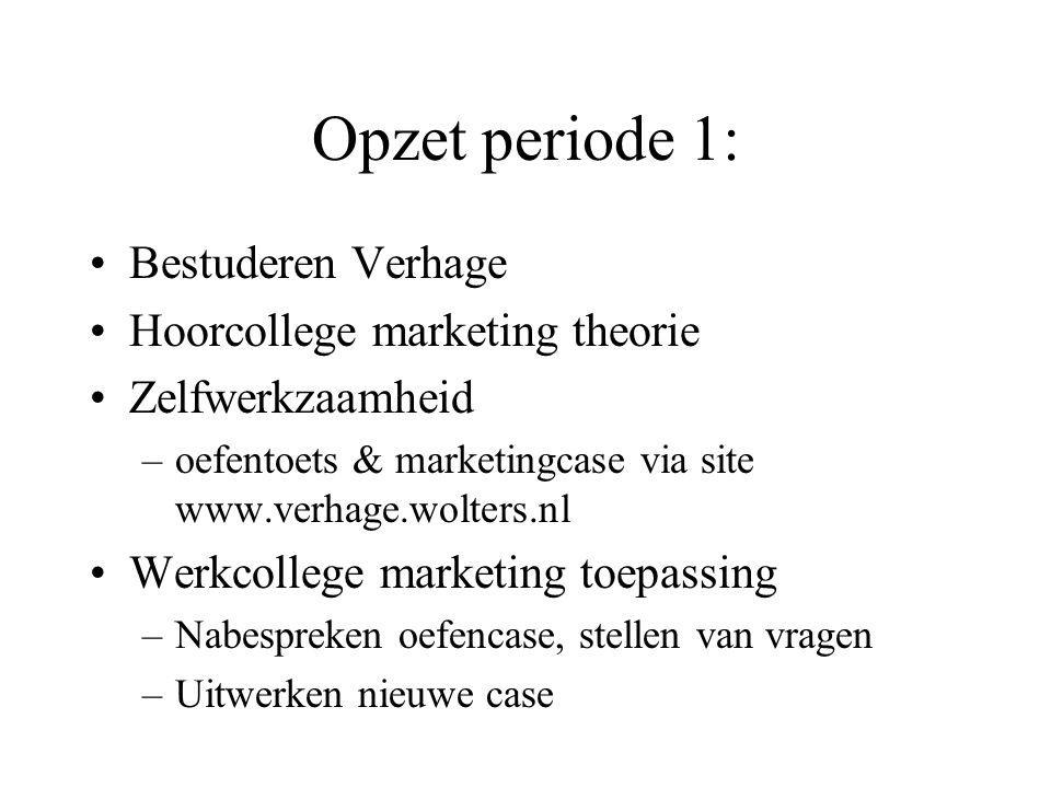 Opzet periode 1: Bestuderen Verhage Hoorcollege marketing theorie
