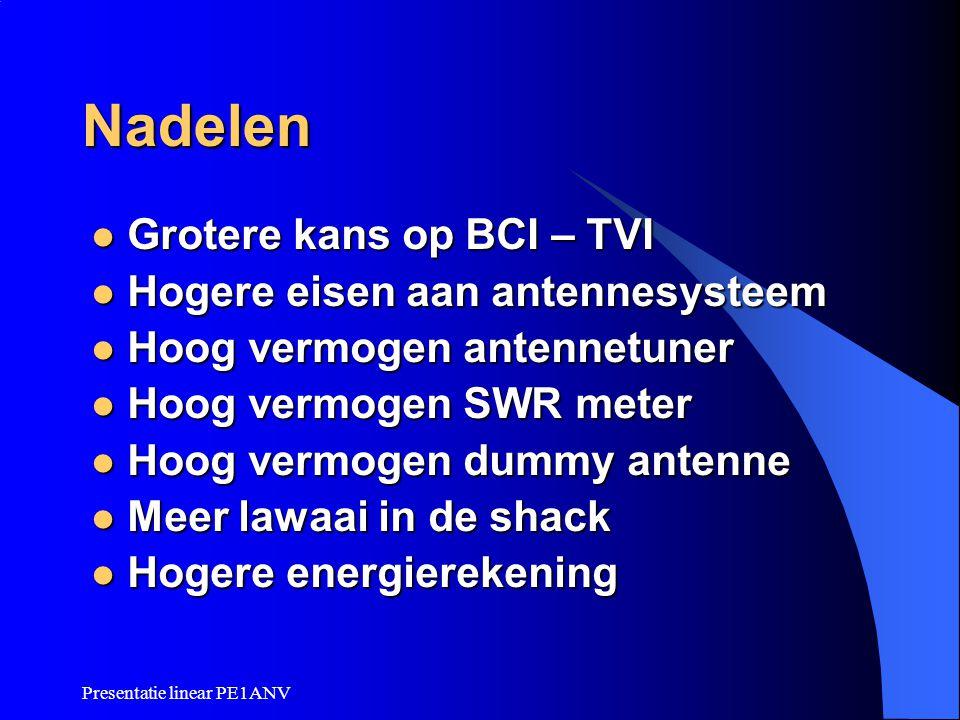 Nadelen Grotere kans op BCI – TVI Hogere eisen aan antennesysteem