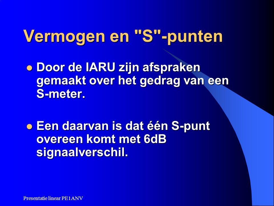 Vermogen en S -punten Door de IARU zijn afspraken gemaakt over het gedrag van een S-meter.