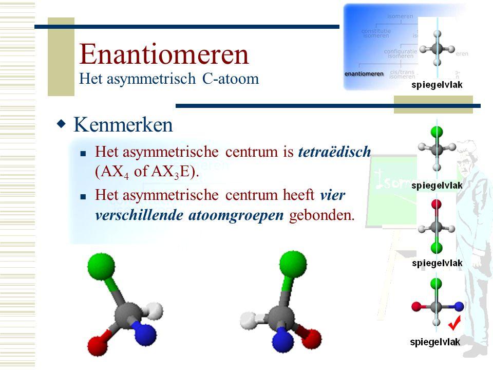 Enantiomeren Het asymmetrisch C-atoom