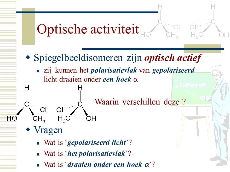 Optische activiteit Spiegelbeeldisomeren zijn optisch actief Vragen