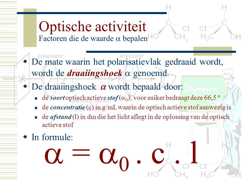 Optische activiteit Factoren die de waarde  bepalen