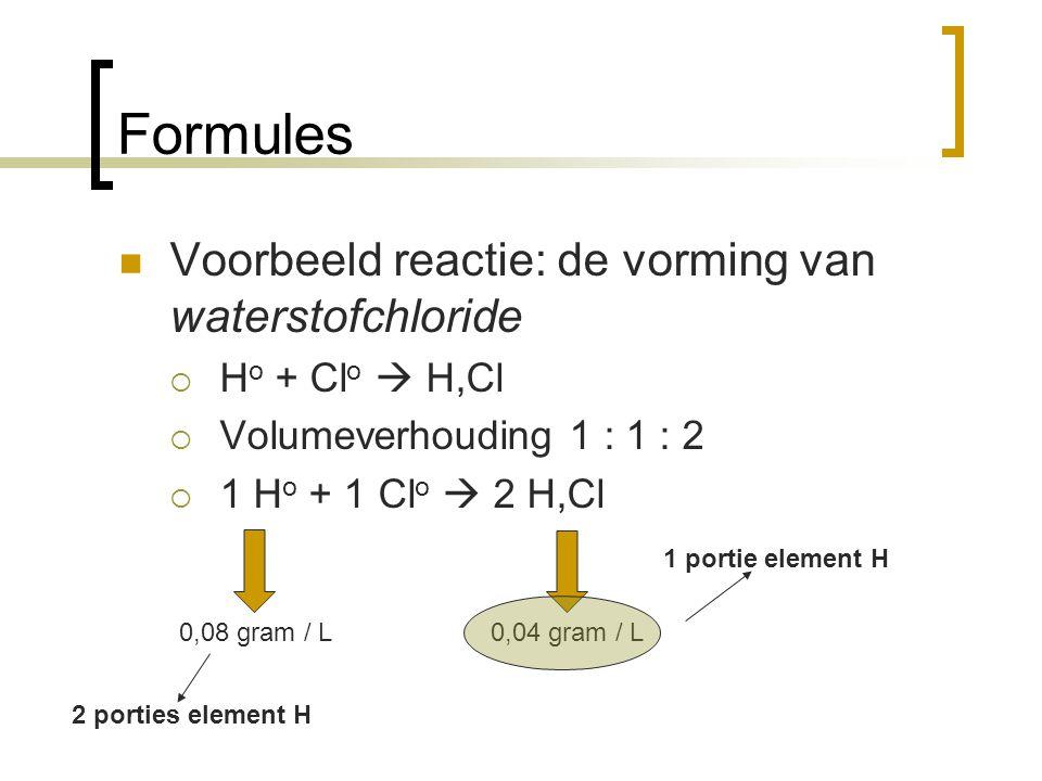 Formules Voorbeeld reactie: de vorming van waterstofchloride