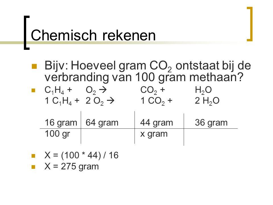 Chemisch rekenen Bijv: Hoeveel gram CO2 ontstaat bij de verbranding van 100 gram methaan C1H4 + O2  CO2 + H2O.