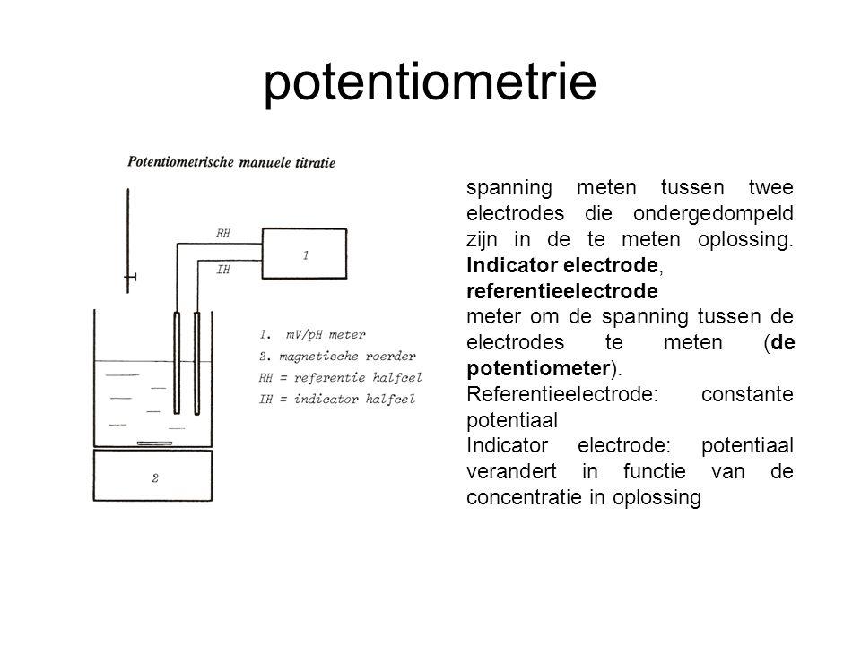 potentiometrie spanning meten tussen twee electrodes die ondergedompeld zijn in de te meten oplossing. Indicator electrode,