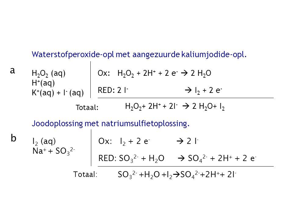 a b Waterstofperoxide-opl met aangezuurde kaliumjodide-opl. H2O2 (aq)