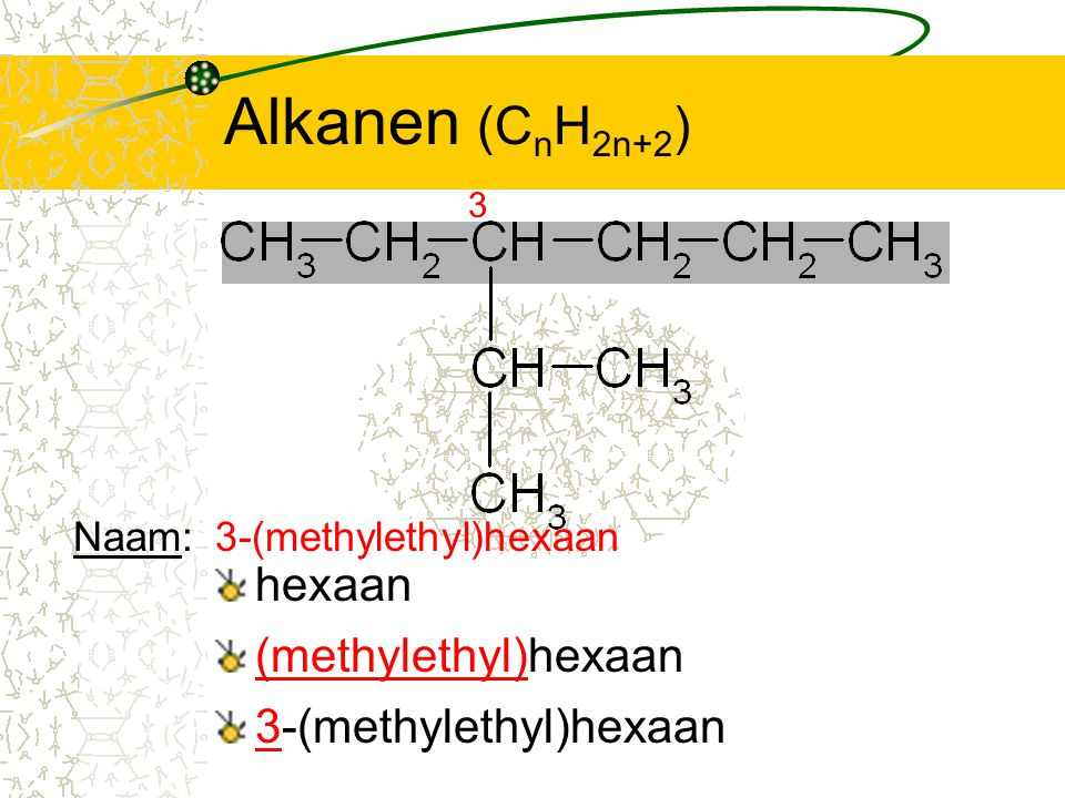 Alkanen (CnH2n+2) hexaan (methylethyl)hexaan 3-(methylethyl)hexaan