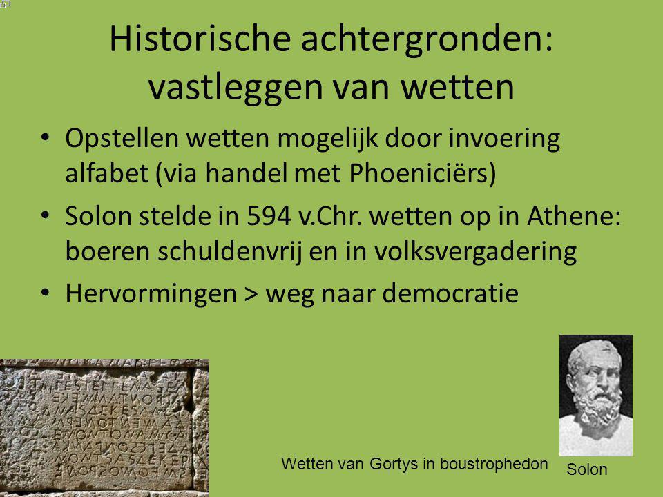 Historische achtergronden: vastleggen van wetten
