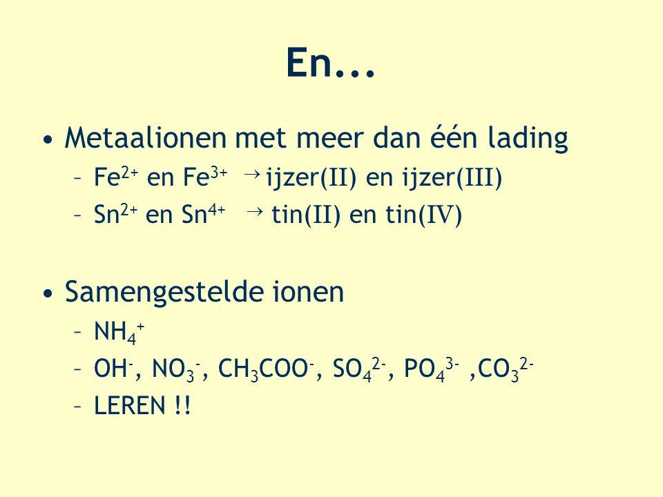 En... Metaalionen met meer dan één lading Samengestelde ionen