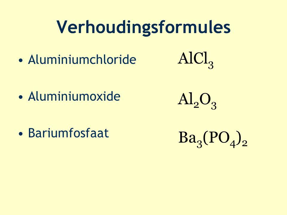 Verhoudingsformules AlCl3 Al2O3 Ba3(PO4)2 Aluminiumchloride