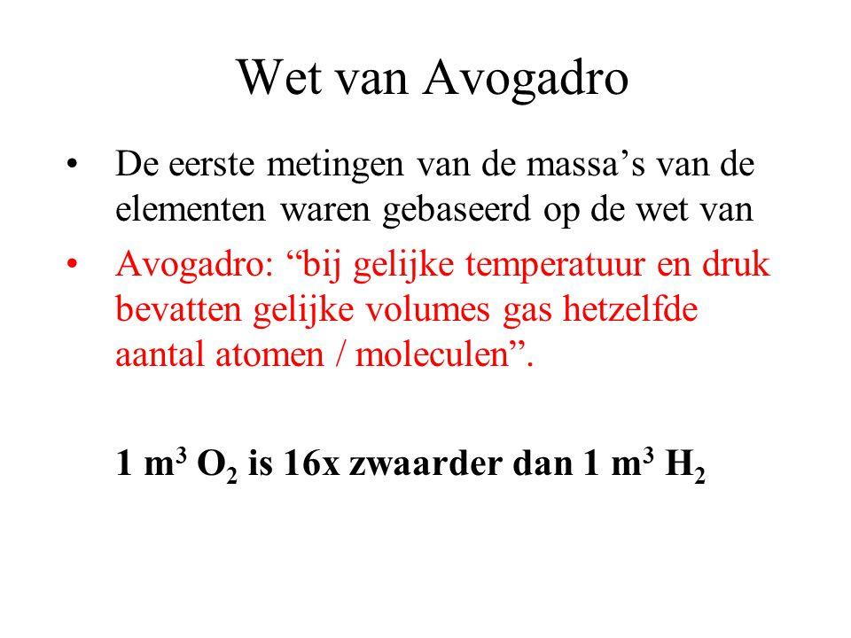 Wet van Avogadro De eerste metingen van de massa's van de elementen waren gebaseerd op de wet van.