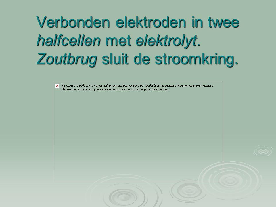 Verbonden elektroden in twee halfcellen met elektrolyt