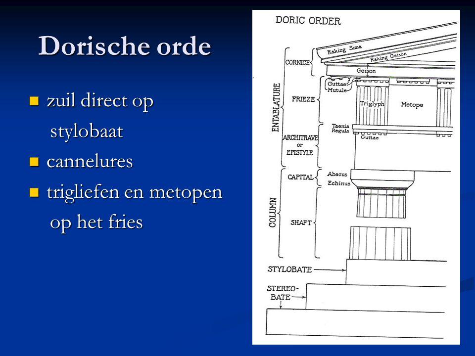 Dorische orde zuil direct op stylobaat cannelures