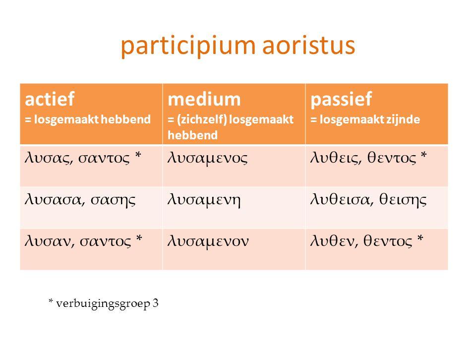 participium aoristus actief medium passief λυσας, σαντος * λυσαμενος