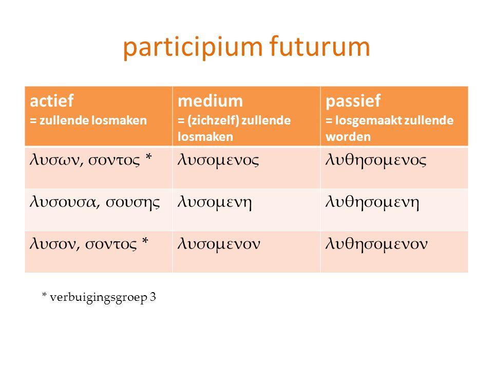 participium futurum actief medium passief λυσων, σοντος * λυσομενος