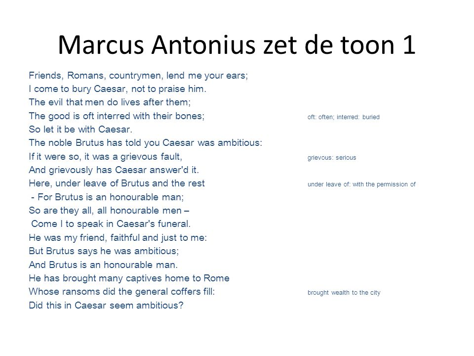Marcus Antonius zet de toon 1