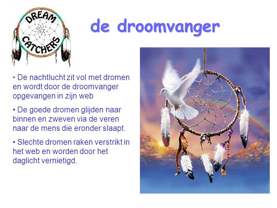 de droomvanger De nachtlucht zit vol met dromen en wordt door de droomvanger opgevangen in zijn web.