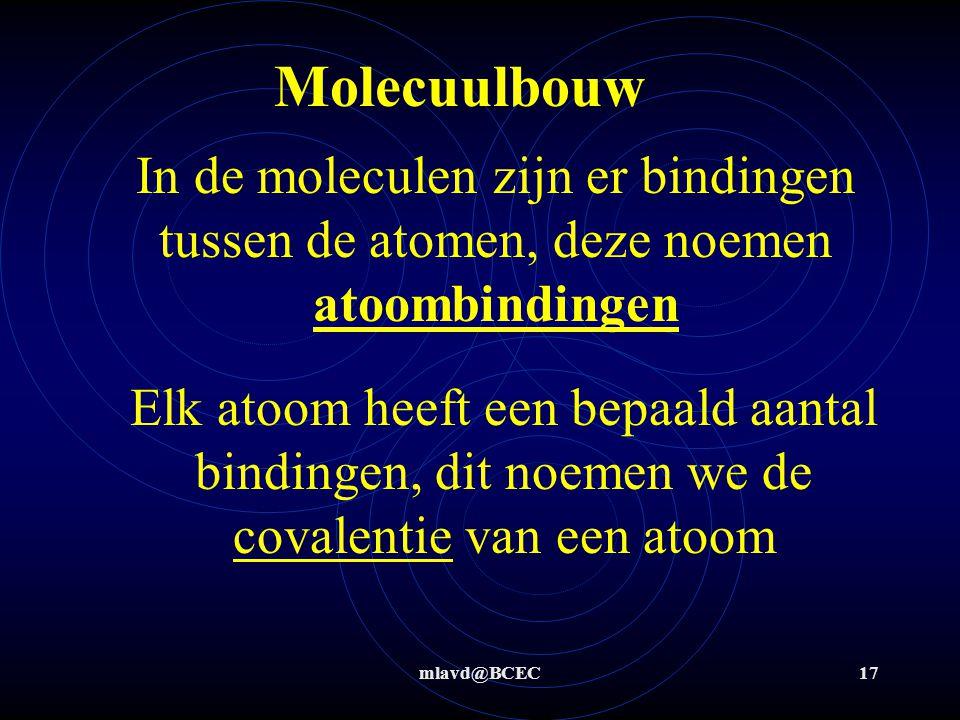 Molecuulbouw In de moleculen zijn er bindingen tussen de atomen, deze noemen atoombindingen.