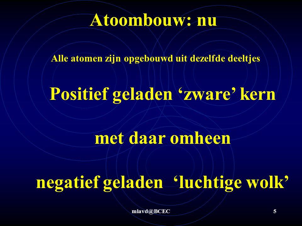 Atoombouw: nu Alle atomen zijn opgebouwd uit dezelfde deeltjes. Positief geladen 'zware' kern met daar omheen negatief geladen 'luchtige wolk'