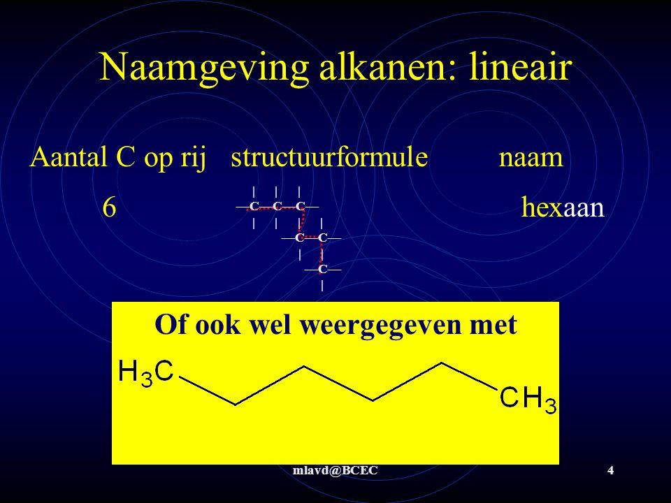 Naamgeving alkanen: lineair