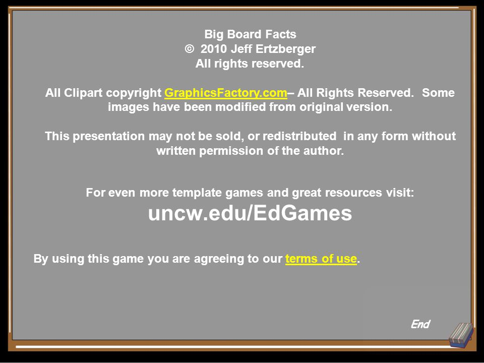 Big Board Facts © 2010 Jeff Ertzberger All rights reserved.