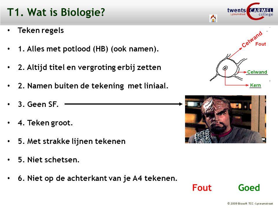 T1. Wat is Biologie Fout Goed Teken regels