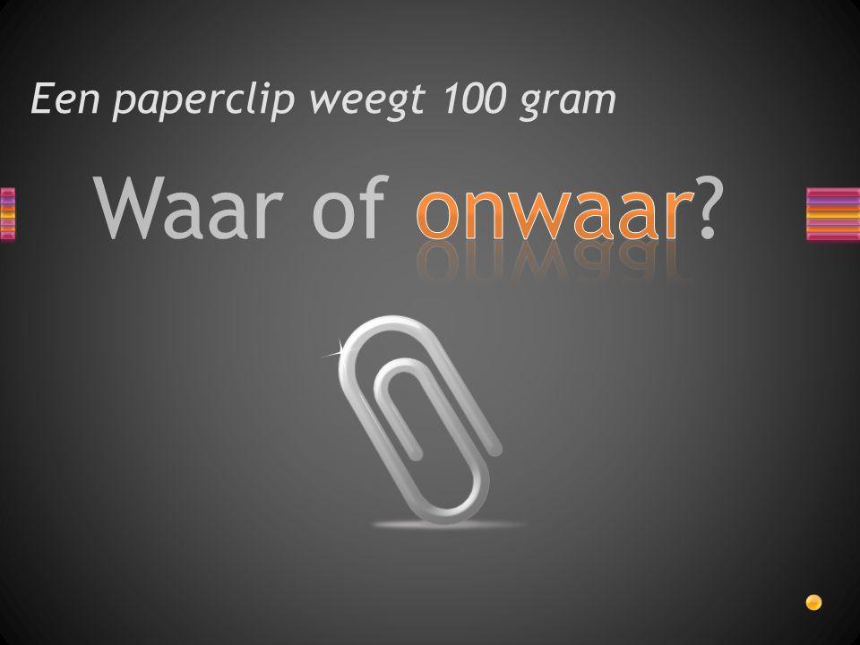 Een paperclip weegt 100 gram