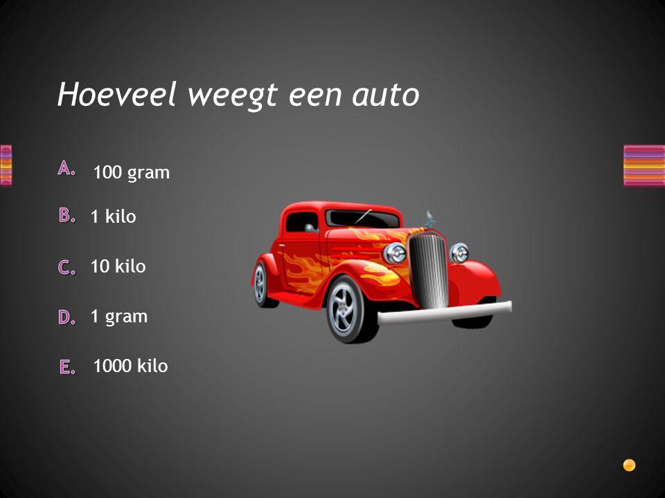 Hoeveel weegt een auto 100 gram 1 kilo 10 kilo 1 gram 1000 kilo