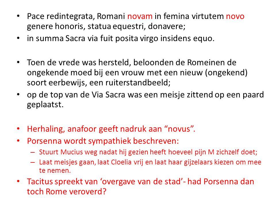in summa Sacra via fuit posita virgo insidens equo.