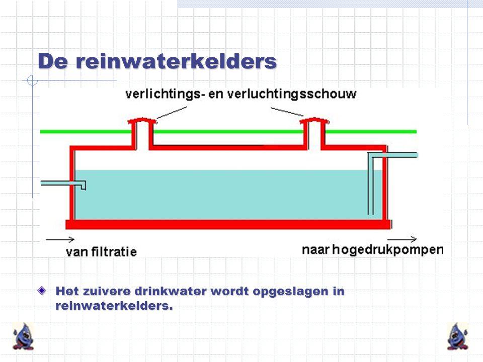De reinwaterkelders Het zuivere drinkwater wordt opgeslagen in reinwaterkelders.