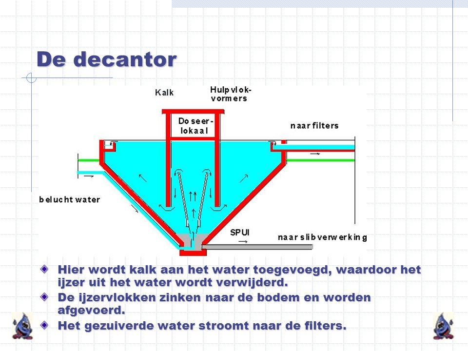 De decantor Hier wordt kalk aan het water toegevoegd, waardoor het ijzer uit het water wordt verwijderd.
