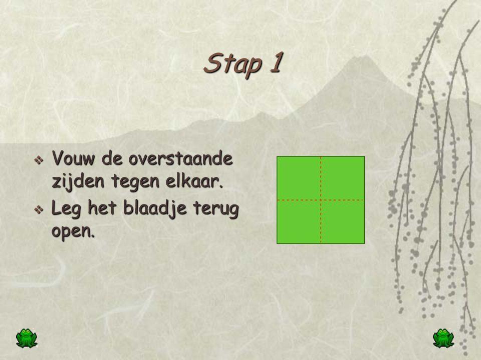 Stap 1 Vouw de overstaande zijden tegen elkaar.