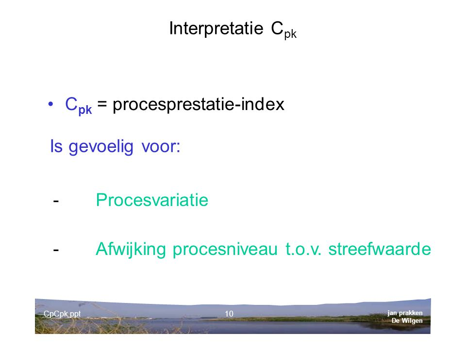 Cpk = procesprestatie-index