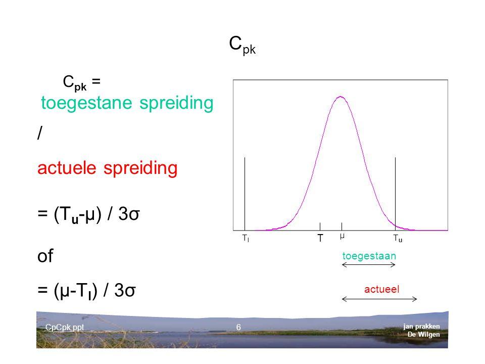 Cpk toegestane spreiding / actuele spreiding = (Tu-µ) / 3σ of
