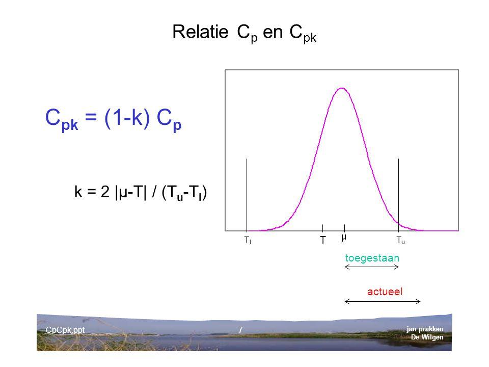 Cpk = (1-k) Cp Relatie Cp en Cpk k = 2 |µ-T| / (Tu-Tl) toegestaan