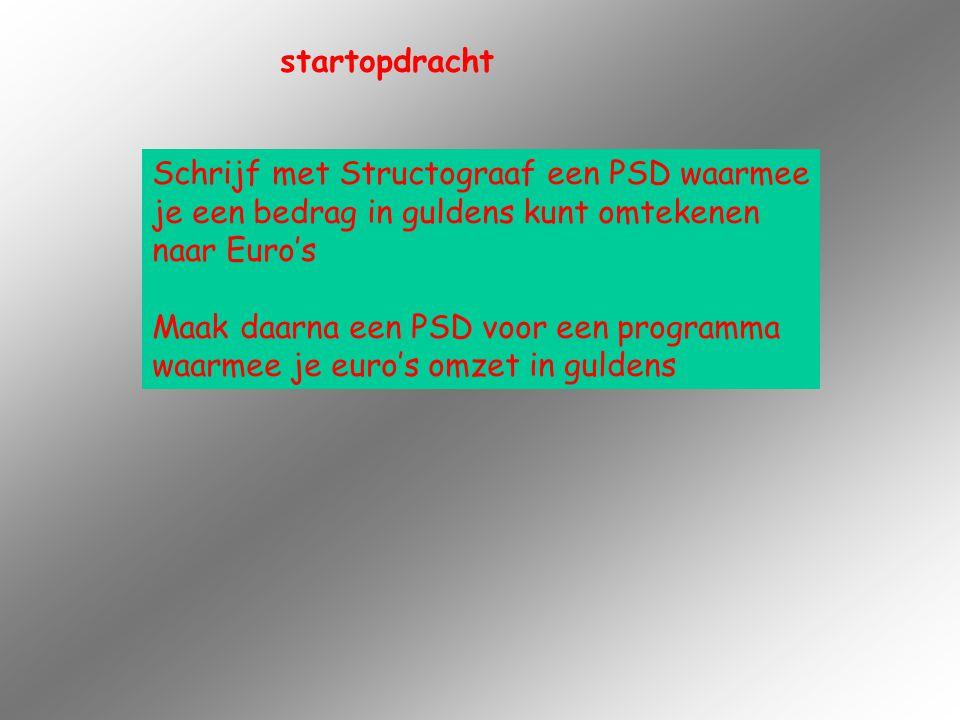 startopdracht Schrijf met Structograaf een PSD waarmee. je een bedrag in guldens kunt omtekenen. naar Euro's.