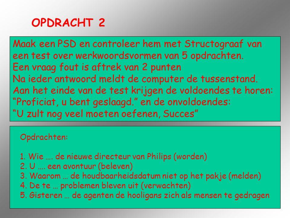 OPDRACHT 2 Maak een PSD en controleer hem met Structograaf van