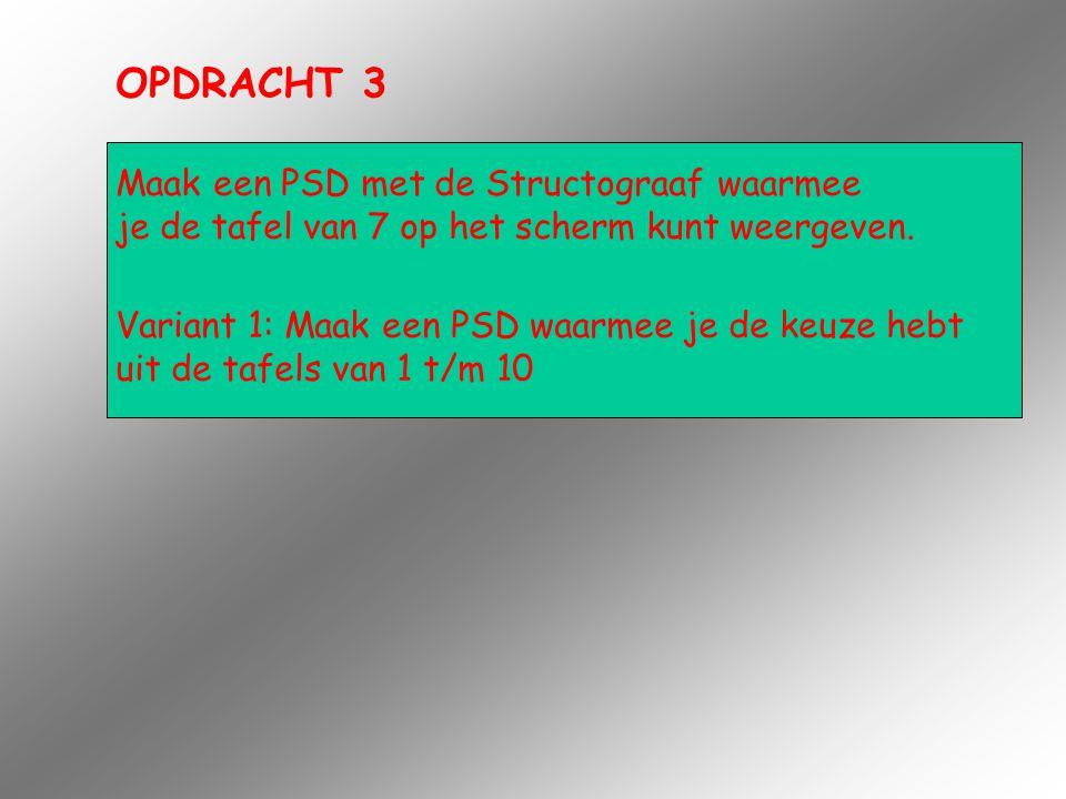 OPDRACHT 3 Maak een PSD met de Structograaf waarmee