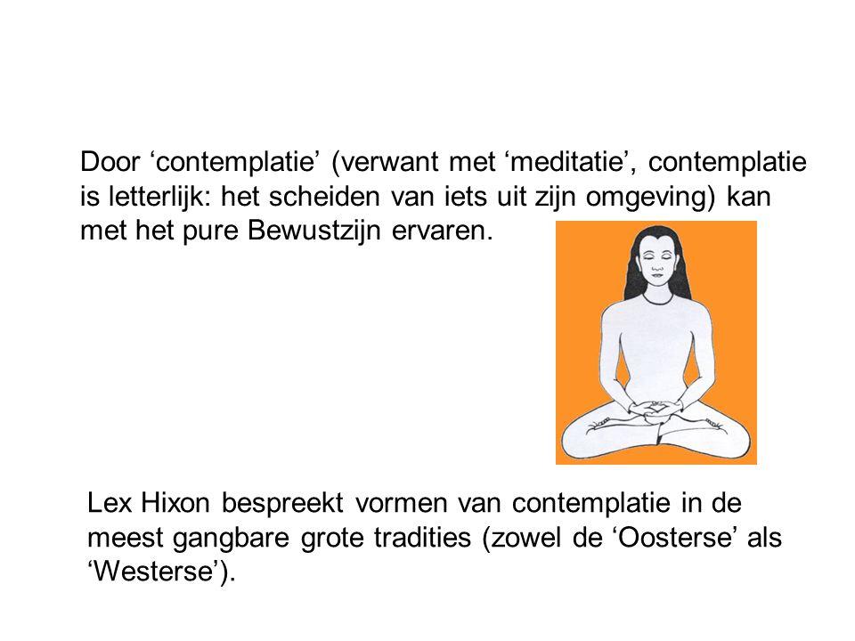 Door 'contemplatie' (verwant met 'meditatie', contemplatie is letterlijk: het scheiden van iets uit zijn omgeving) kan met het pure Bewustzijn ervaren.